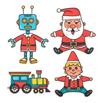 Conjunto de juguetes de navidad dibujados a mano
