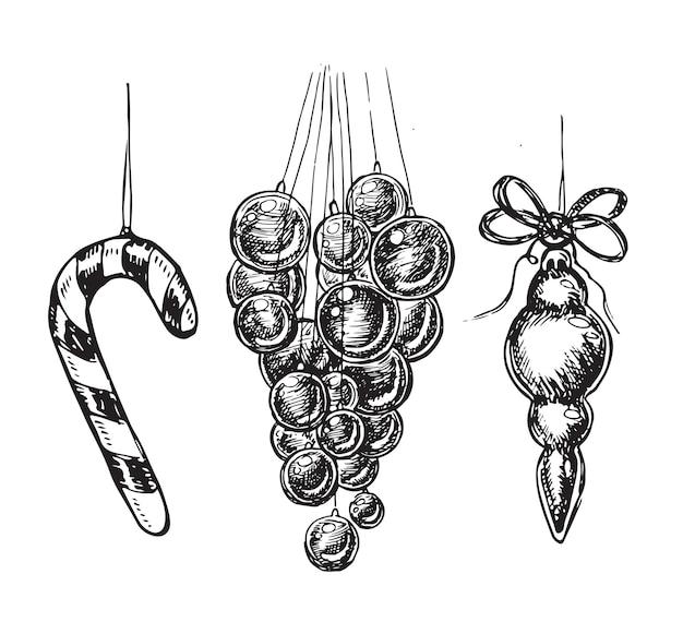 Conjunto de juguetes navideños dibujado a mano ilustración