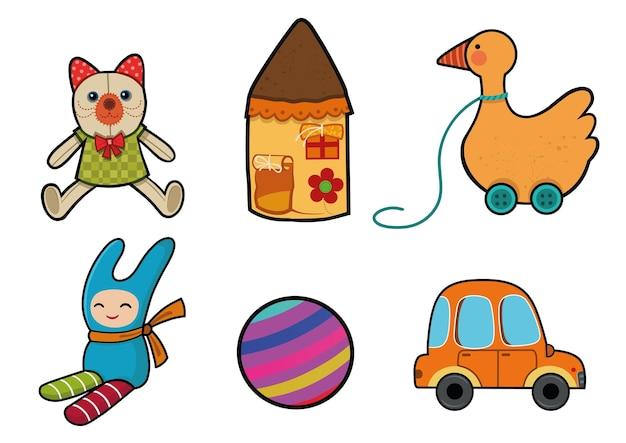 Conjunto de juguetes para niños de dibujos animados, casa de muñecas, pato, pelota, coche, objetos de ilustración vectorial