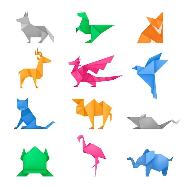 Conjunto de juguetes de papel diferentes de animales de origami