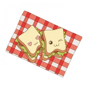 Conjunto de kawaii de comida de panadería en mantel de picnic
