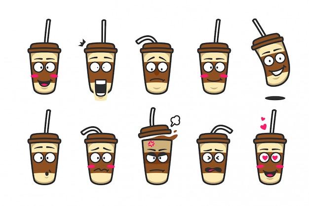 Conjunto de kit de emoji de mascota de dibujos animados de taza de cartón de café