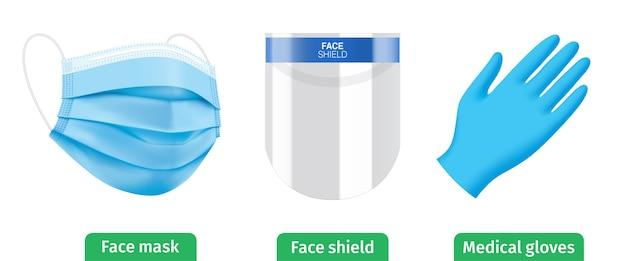 Conjunto de kit de equipo personal de protección antivirus. pantalla facial, mascarilla médica azul y guantes.