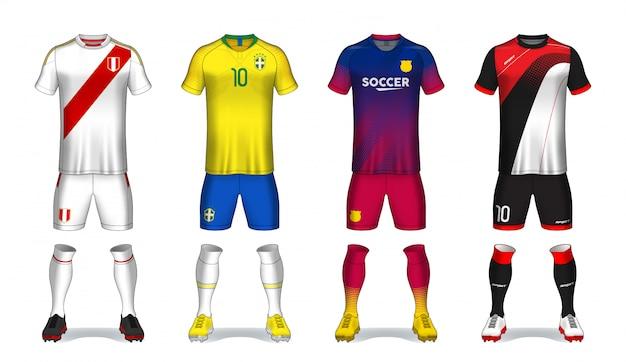 Conjunto de kit de fútbol, diseño de camiseta deportiva.