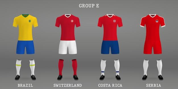 Conjunto de kit de fútbol, plantilla de camiseta para camiseta de fútbol.