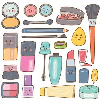 Conjunto de kit de maquillaje garabatos kawaii