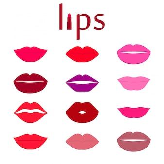 Conjunto de labios coloridos.