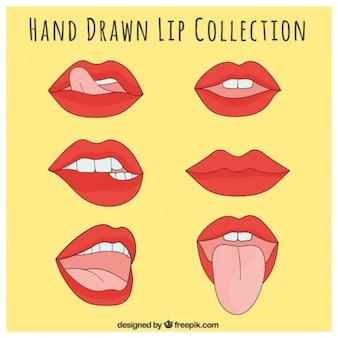Conjunto de labios con gestos sensuales