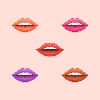 Conjunto de labios de mujer con lápiz labial multicolor en estilo plano.