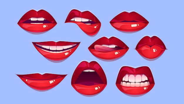 Conjunto de labios rojos femeninos