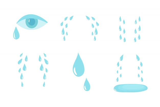 Conjunto de lágrimas de dibujos animados