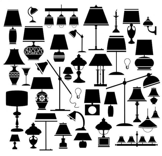 Conjunto de lámparas en blanco y negro