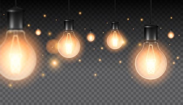 Conjunto de lámparas luminosas realistas, lámparas colgando de un cable. lámpara incandescente. aislado en una oscuridad a cuadros.