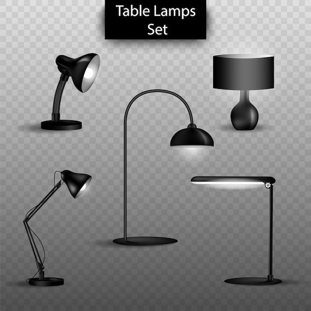 Conjunto de lámparas de mesa aislado 3d. elementos de diseño de interiores para el hogar.