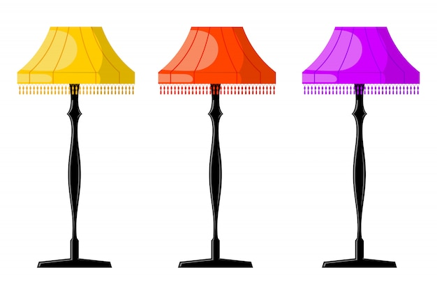 Conjunto de lámparas de pie de dibujos animados retro de color.