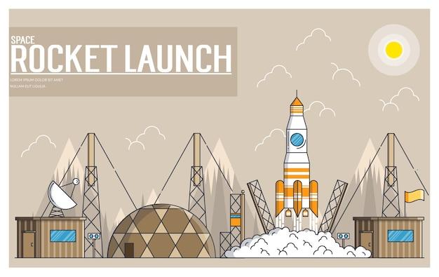 Conjunto de lanzamiento de cohetes y naves espaciales en estilo de línea fina
