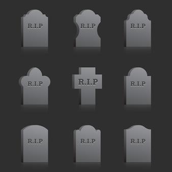 Conjunto de lápidas vectoriales con texto rip sobre fondo gris