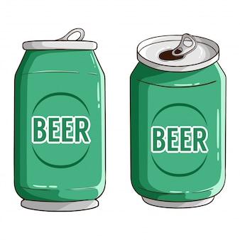 Conjunto de lata de cerveza con estilo dibujado a mano color