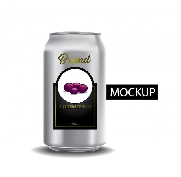 Conjunto de latas metálicas realistas para cerveza o refresco.