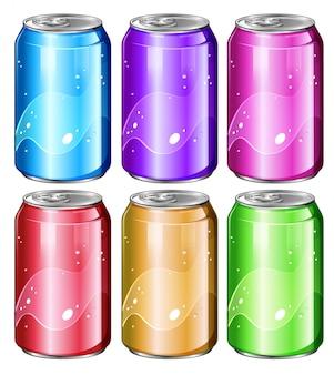 Conjunto de latas de refresco