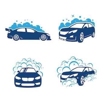 Conjunto de lavado automático y clening car logo vector