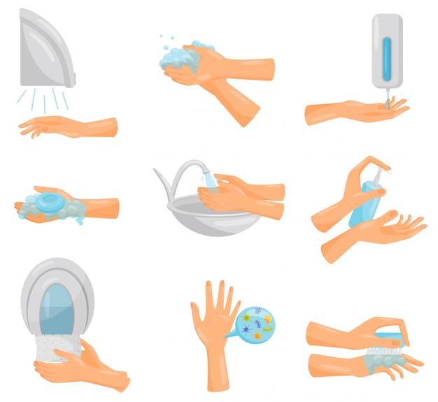 Conjunto de lavado de manos paso a paso, higiene, prevención de enfermedades infecciosas, cuidado de la salud y saneamiento ilustración sobre un fondo blanco