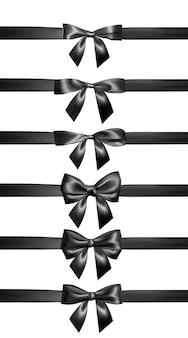 Conjunto de lazo negro realista con cinta negra. elemento para decoración de regalos, saludos, vacaciones, día de san valentín.