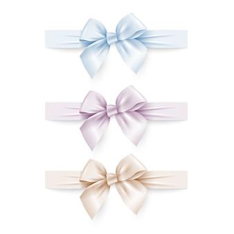 Conjunto de lazos de seda de colores pastel con cintas