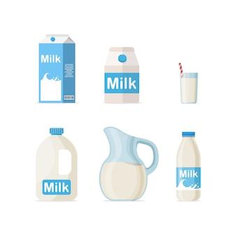 Conjunto de leche en diferentes paquetes: vidrio, cartón, botella aislado sobre fondo blanco, ilustración de diseño plano