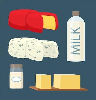 Conjunto de leche y productos lácteos en estilo de dibujos animados