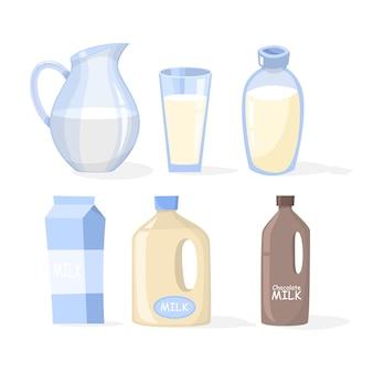 Conjunto de leche. recogida de productos lácteos en un vaso.