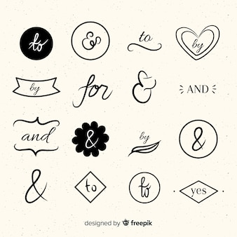 Conjunto de lema de boda dibujado a mano