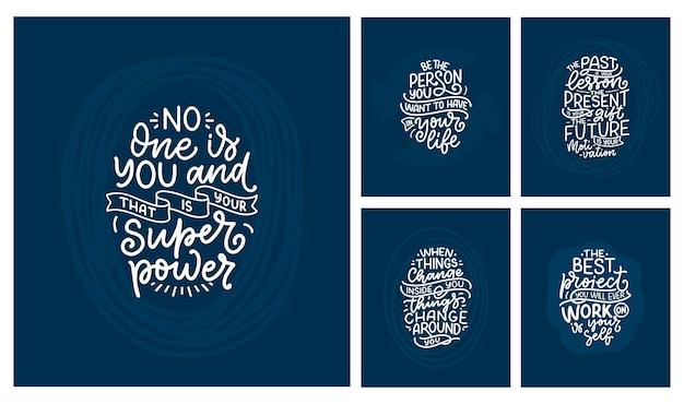 Conjunto con lemas de letras sobre ser usted mismo citas divertidas para blog