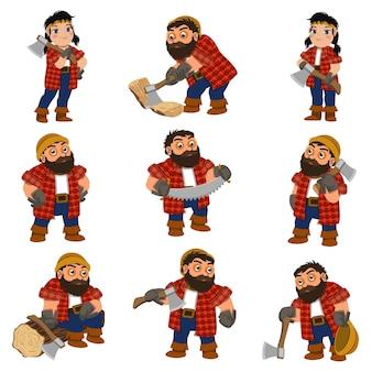 Conjunto de leñador. conjunto de dibujos animados de leñador