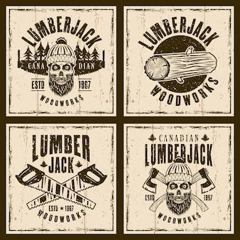 Conjunto de leñador de cuatro emblemas marrones sobre fondo con texturas