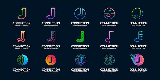 Conjunto de letra creativa j diseño de logotipo de tecnología digital moderna.