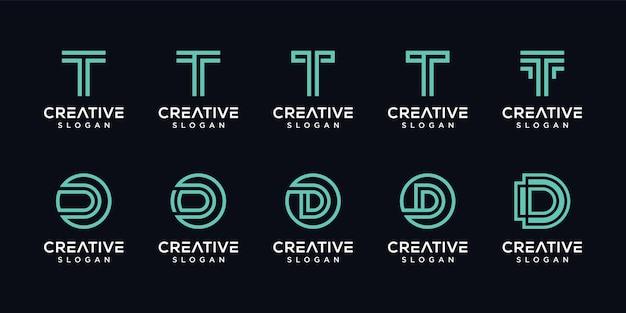 Conjunto de letra creativa t, logotipo de monograma d