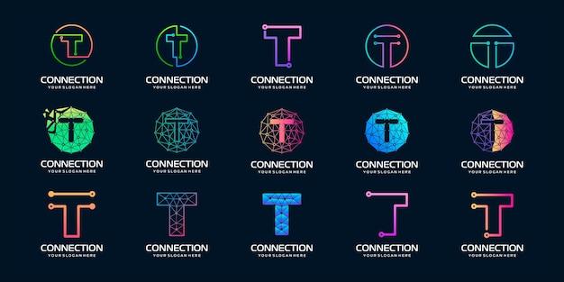 Conjunto de letra creativa t logotipo de tecnología digital moderna