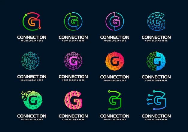 Conjunto de letra inicial creativa g diseño de logotipo de tecnología digital moderna.