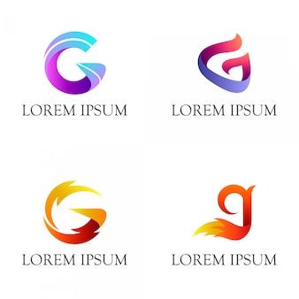 Conjunto de letra inicial g diseño de logotipo.