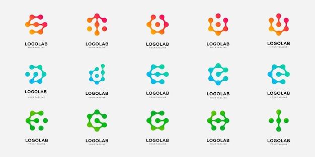 Conjunto de letra de logotipo de colección con plantilla de logotipo de concepto de punto y molécula.