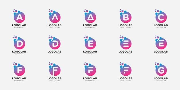 Conjunto de letra de logotipo inicial con plantilla de logotipo de concepto de punto y molécula.
