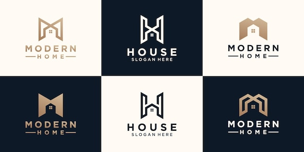 Conjunto de letra minimalista abstracta mh con diseño de logotipo de inicio