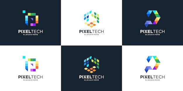 Conjunto de letra p abstracta con diseño de logotipo pixel tech