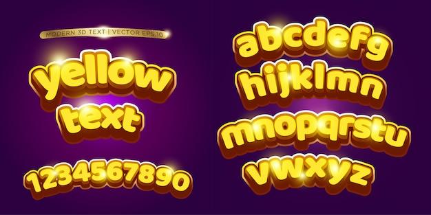 Conjunto de letras 3d amarillo y dibujos animados
