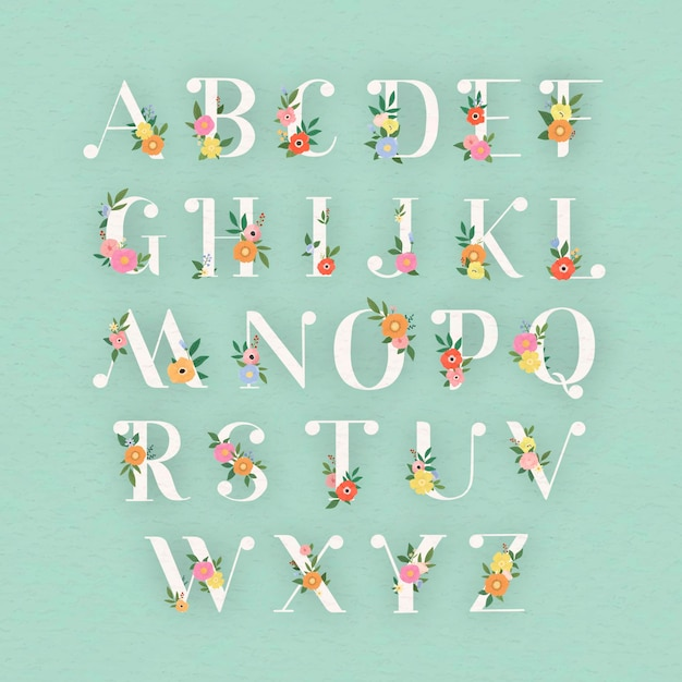 Conjunto de letras del alfabeto elegante floral