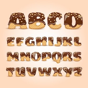 Conjunto de letras del alfabeto de obleas de chocolate helado