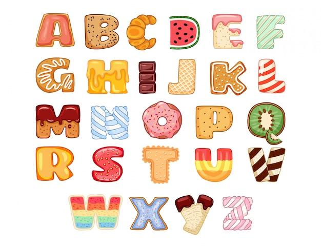 Conjunto de letras del alfabeto sabrosas