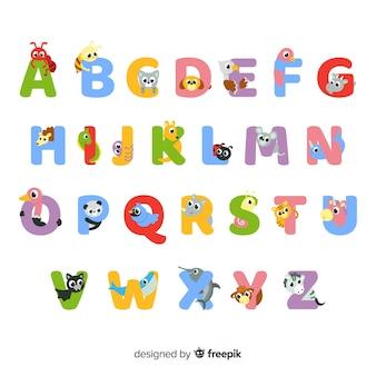 Conjunto de letras animales lindas