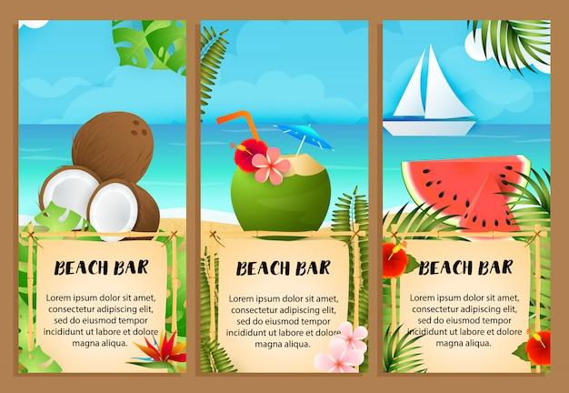 Conjunto de letras beach bar, sandía y coctel de coco.